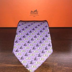Hermes Silk Tie - Sleigh Bear (Purple) F/W 2017